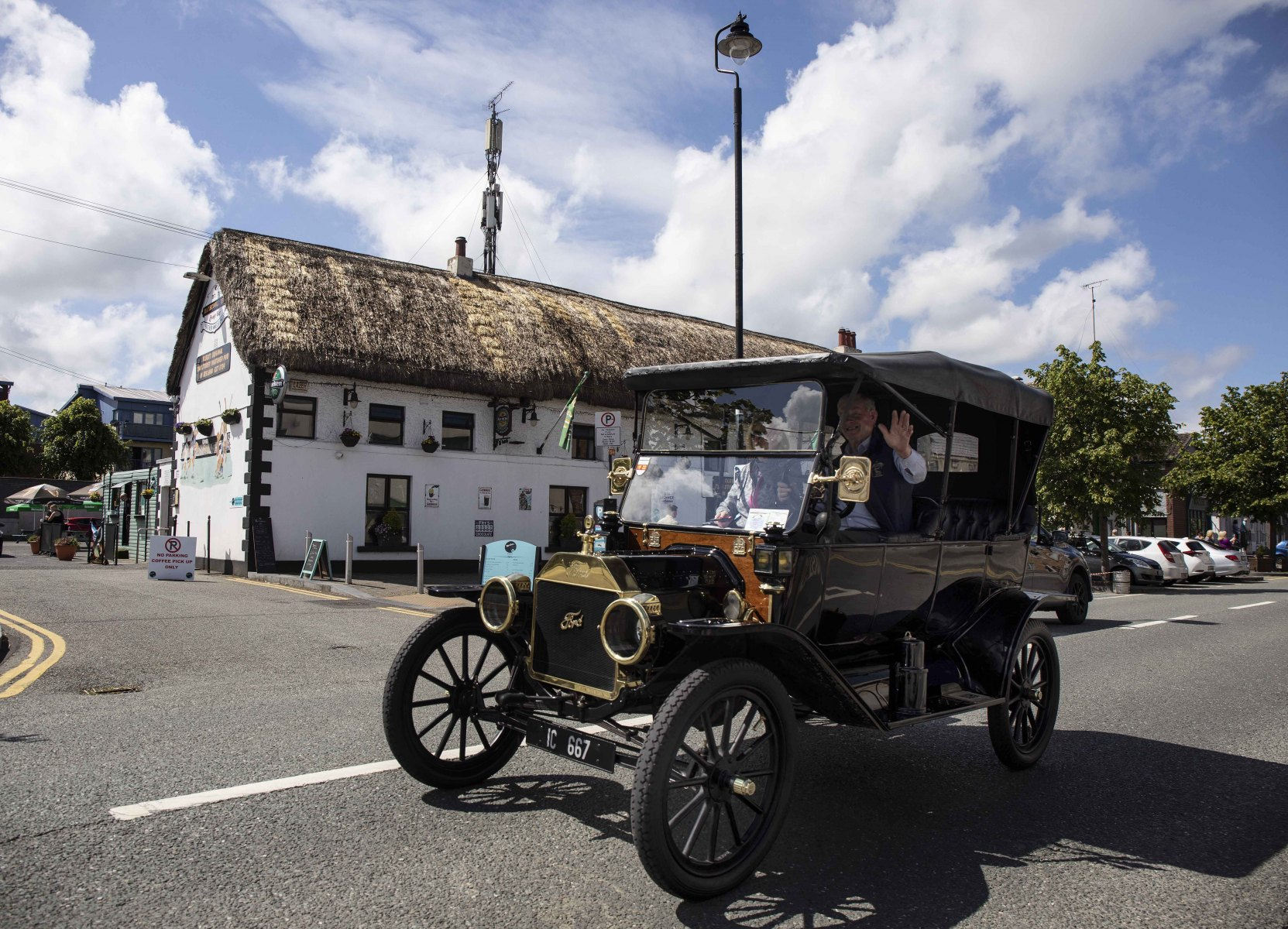 5 June 2021; Members of the Ford Model T club of Ireland pass by the Rathcoole Inn on a run today , Co. Dublin. Picture credit / Damien Eagers Photography